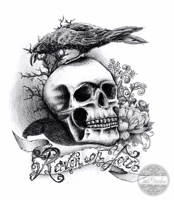 Tatouage tete de mort tatouage femme nuque tte de mort tatouage tete de mort portrait de - Tatouage corbeau signification ...